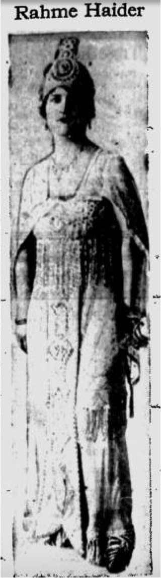 Figure 1: Princess Rahme Haidar. The Evening Record, August 16, 1918, page 4. Ellensburg, Washington.