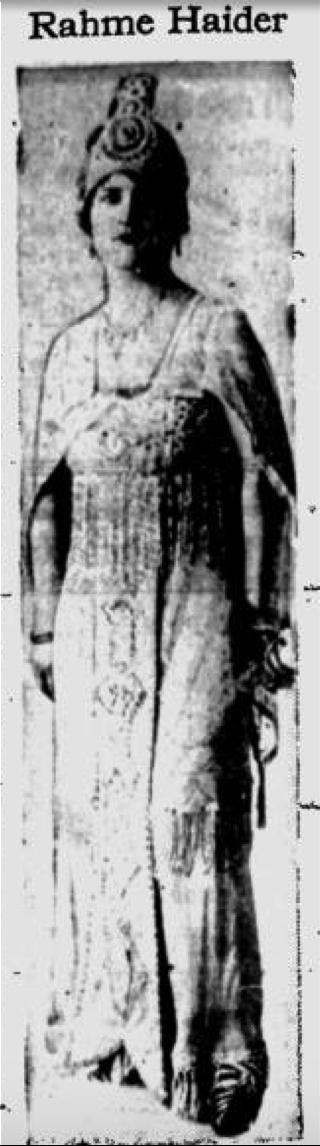 Figure 1: Princess Rahme Haidar. The Evening Record, August 16, 1918, page 4. Ellensburg, Washington.