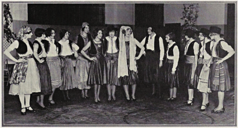Figure 3: Princess Rahme Haidar (sixth from the right) rehearsing with a group of girls from the Northrop School in Minneapolis Minnesota, 1926.  [10]