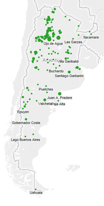Map of agricultural businesses (in green), and map of viticulture businesses (in red).