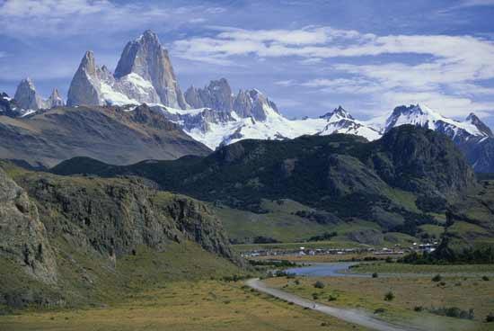 Mountainous terrain in Argentina's Patagonian region.