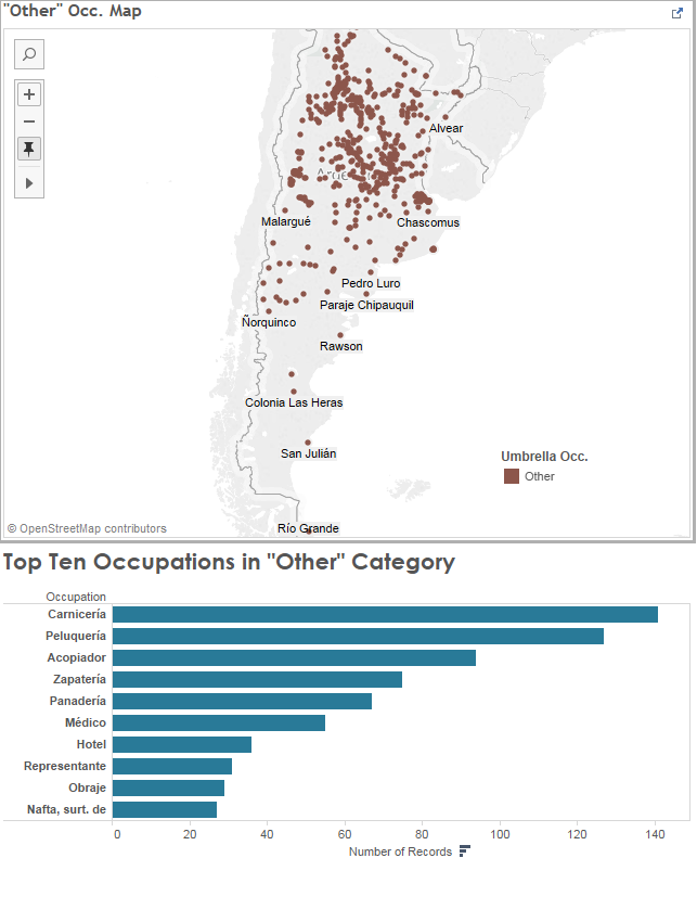 """Map of """"Other"""" occupations by municipality, and graph of ten most popular occupations within this category (Butcher, Hairdresser, Distributor, Shoe Store, Bakery, Doctor, Hotel, Representative, Sawmill or Textile Worker, Gas Distributor)."""