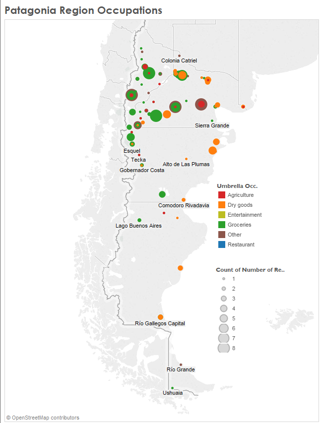 Map of Patagonian region showing most popular occupations by municipality.