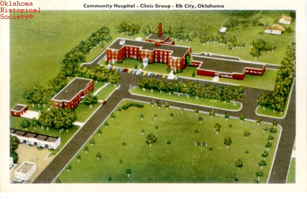Postcard featuring Elk City Community Hospital. Citation: Anna L. B. Korn Collection, Oklahoma Historical Society Research Division.