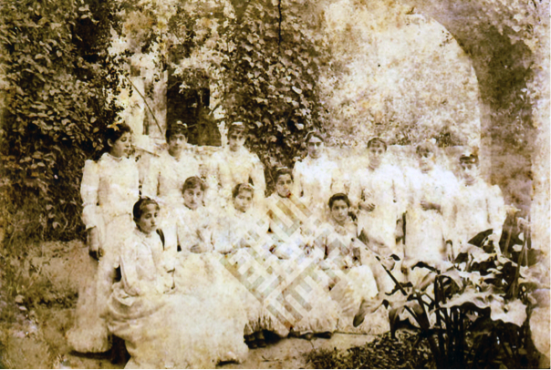 An undated group photograph of a number of unidentified young women. Khayrallah Center Archives
