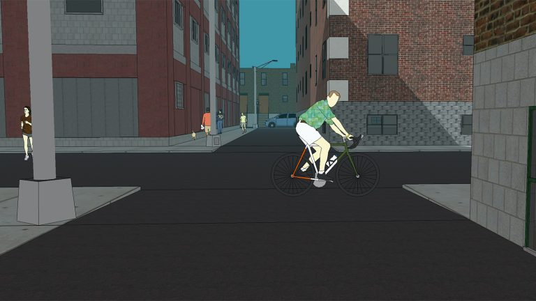 computer image of a street intersection with a bicyclist straight ahead and a jogger on the left