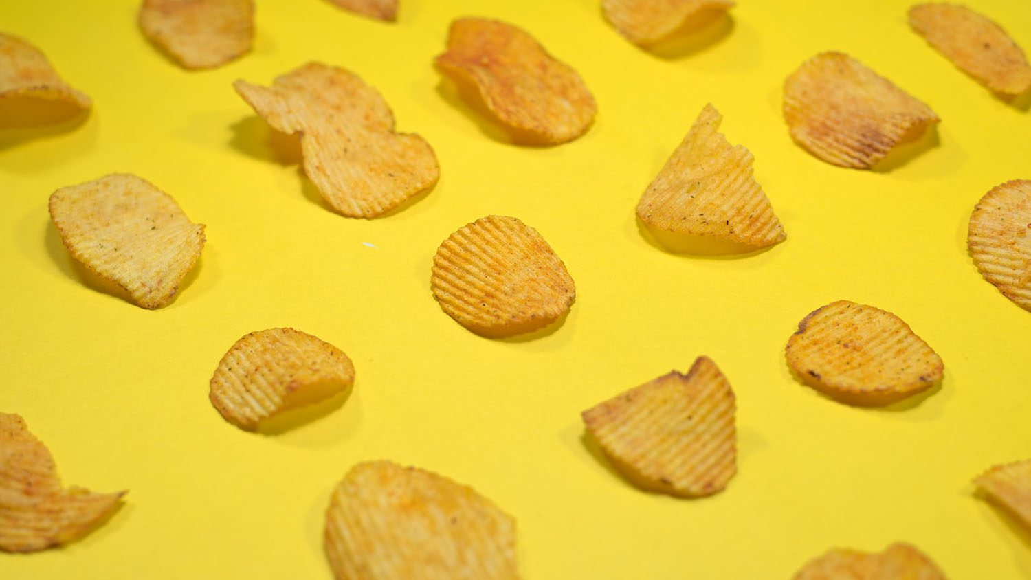 chips on yellow background