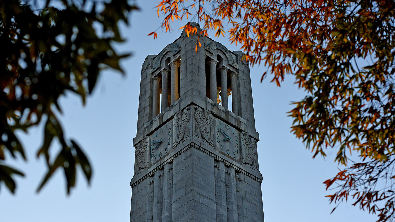 belltower peaks through fall leaves