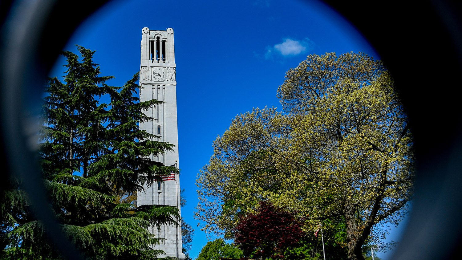 The Belltower, framed by the gate at the edge of campus.