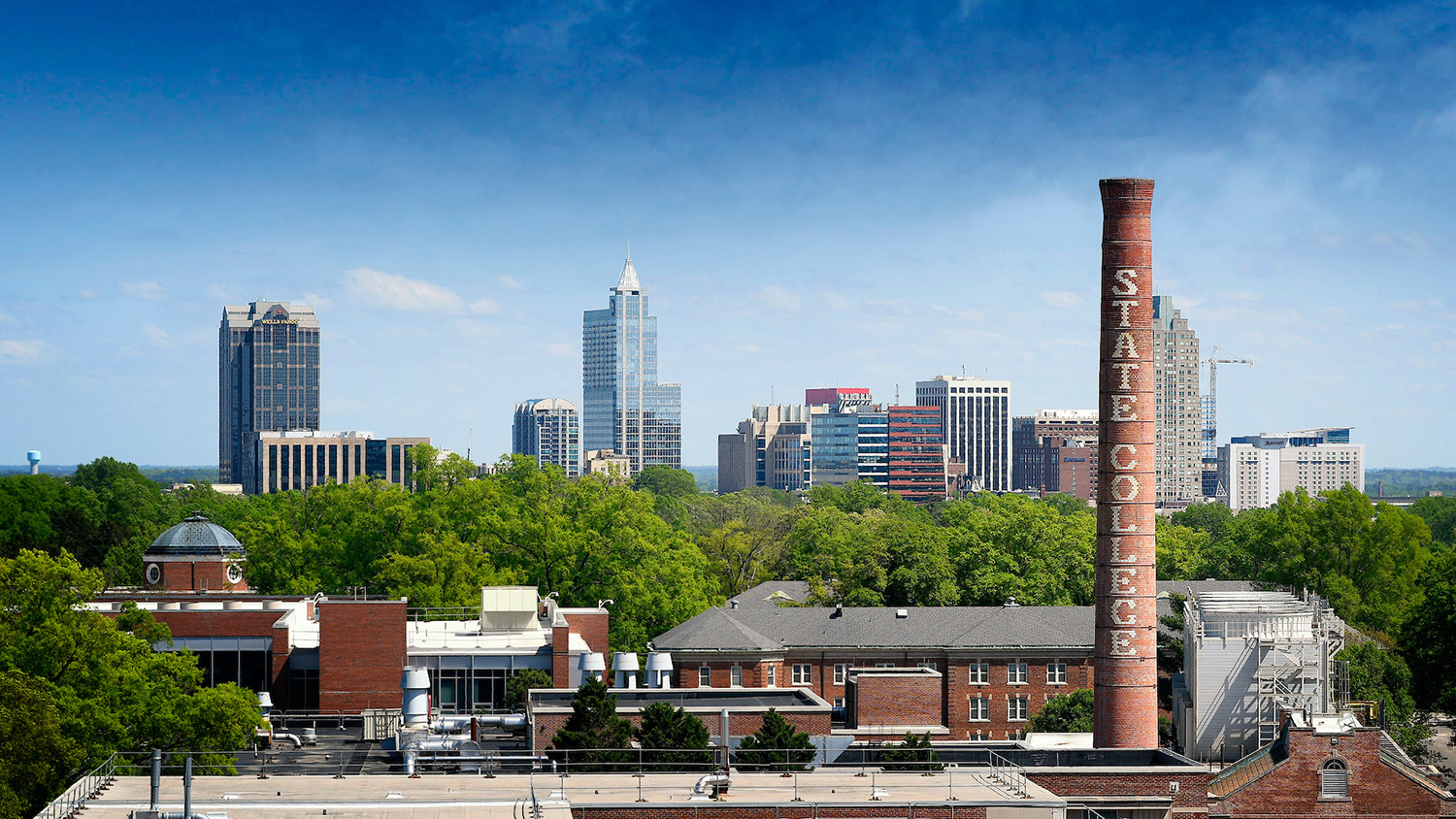 Downtown Raleigh skyline, framed by the State College smoke stack