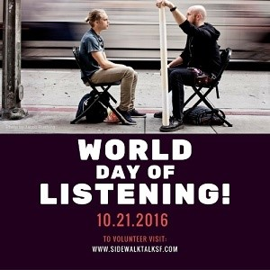 Sidewalk Talk Non Profit Joins Thousands of Global Volunteer Listeners on Oct. 21 for World Day of Listening (PRNewsFoto/Sidewalk Talk)