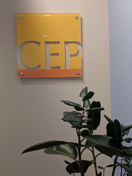 Center for Effective Philanthropy logo on a wall of the CEP headquarters in Boston