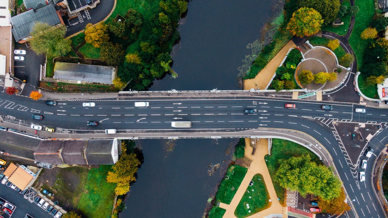 Aerial photo of a road over a river