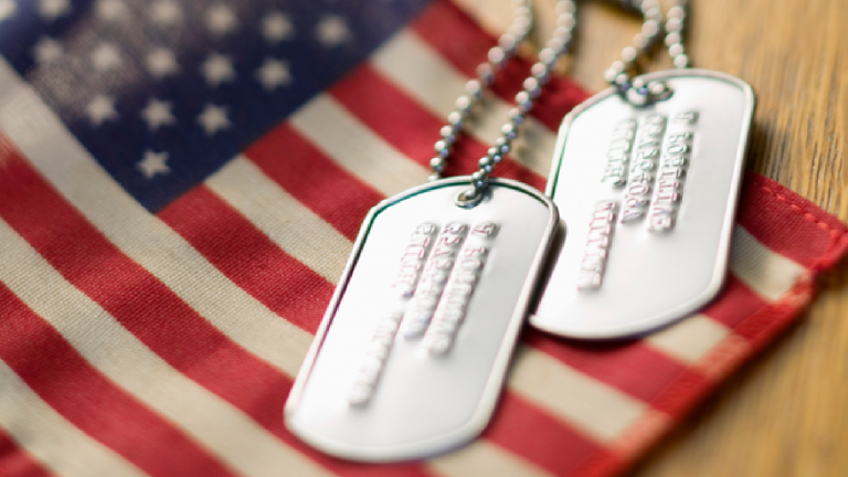 American Flag with Dog Tags