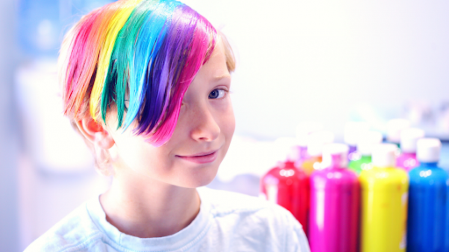 LGBTQ+ Youth with rainbow hair