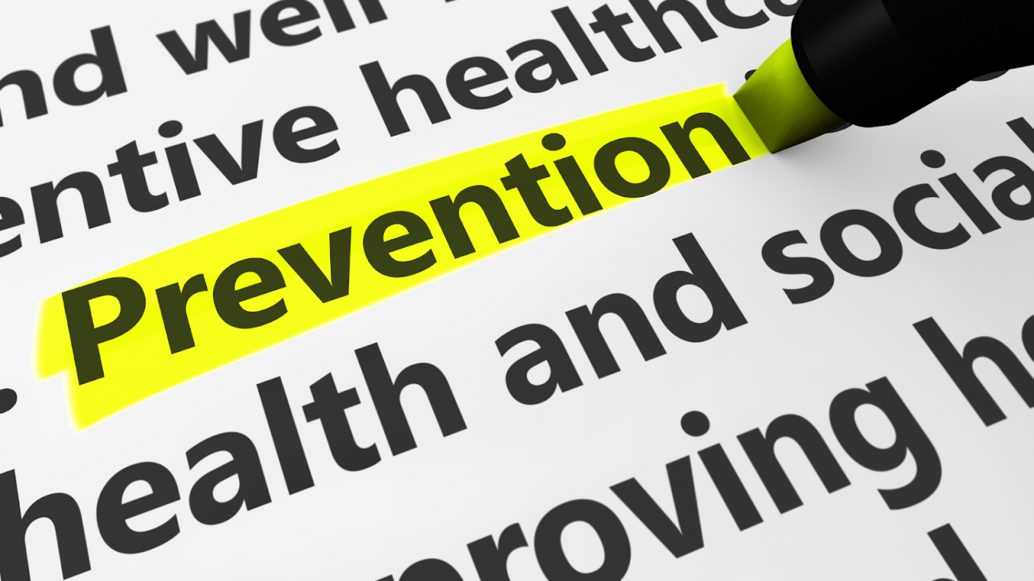 The word prevention highlighted