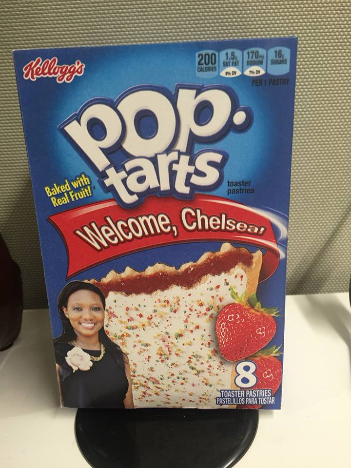 Her first day at Edelman earned her a package of PopTarts with her photo.