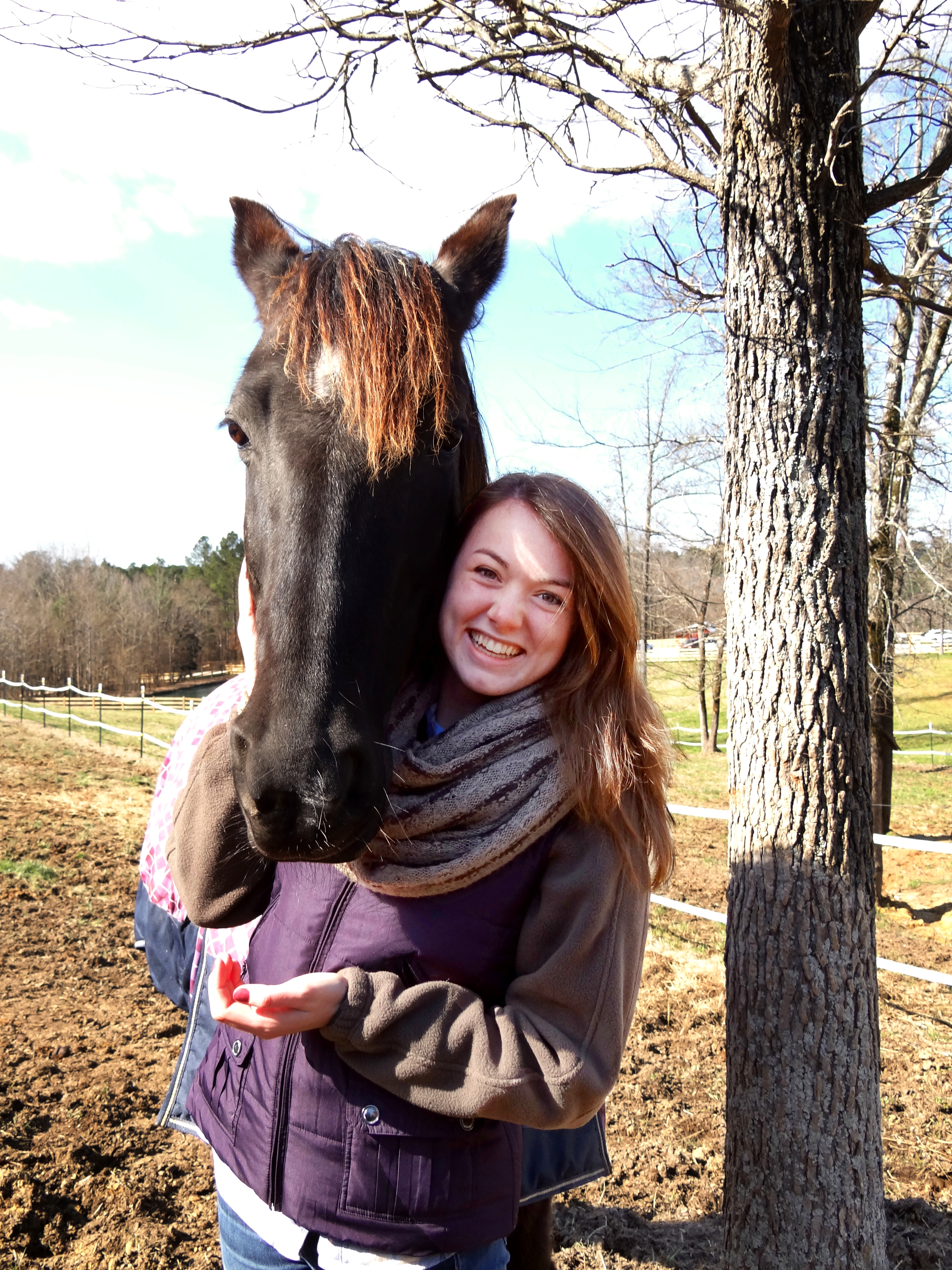 Hannah O'Conner and friend, Ruka, a rescue horse. Ruka means restoration in Hebrew.