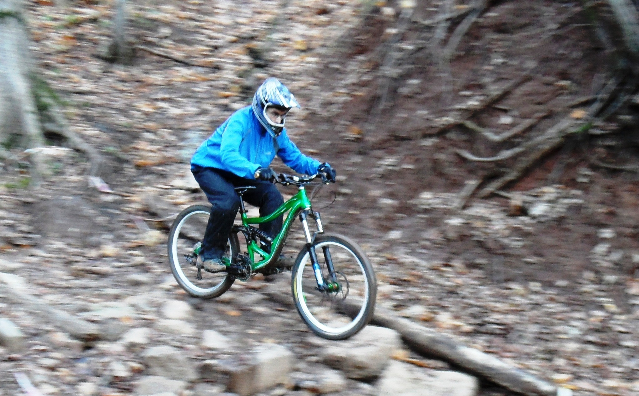 Gritsenko navigates rocks in Beech Mountain, NC