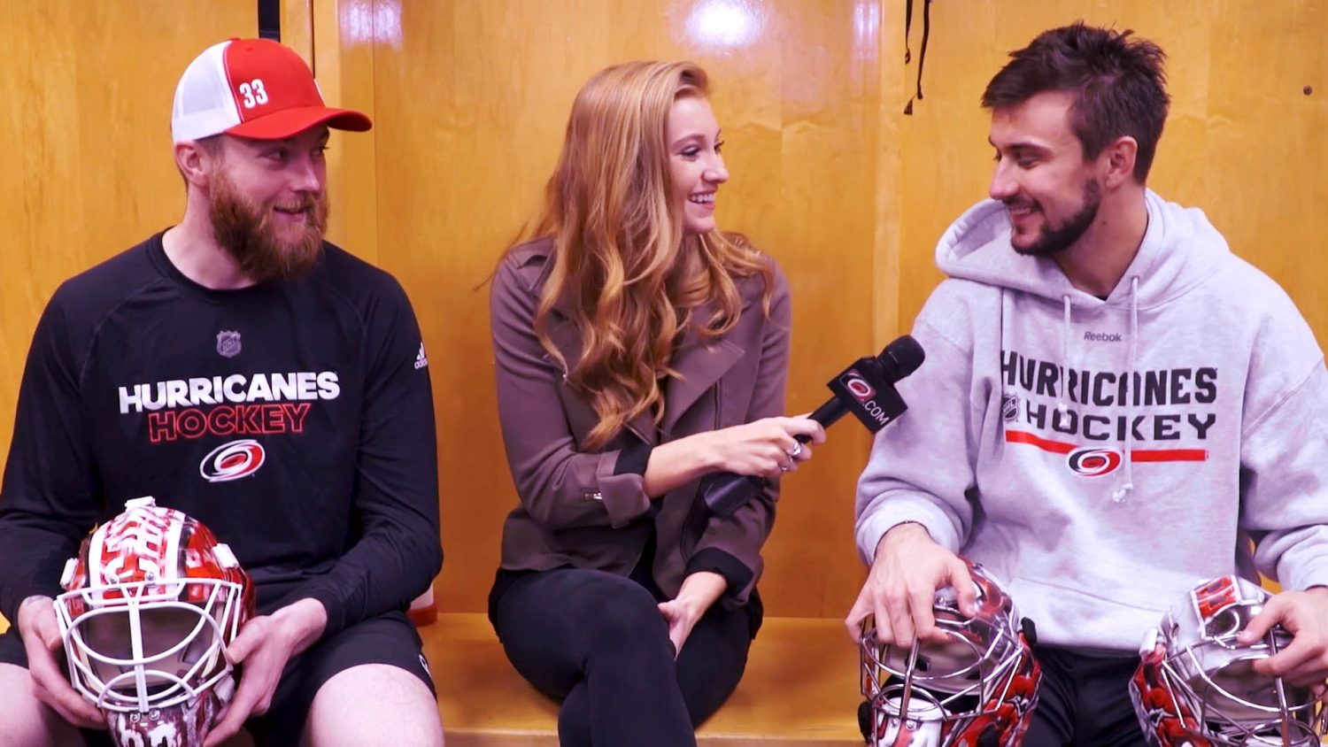 Abby Labar interviews two players from the Carolina Hurricanes