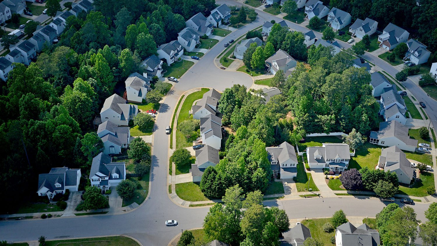 aerial shot of houses in Raleigh