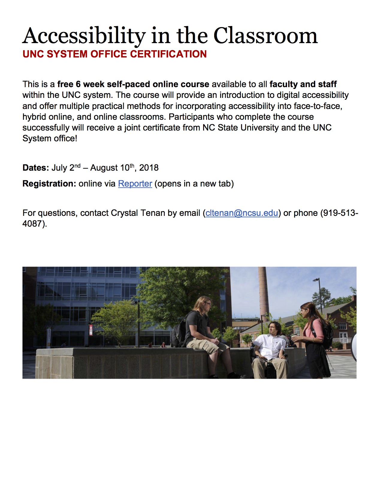 Accessibility in the Classroom FREE online course