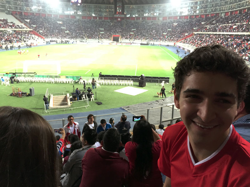 Marc attending a soccer game in Madrid, Spain during his study abroad summer in 2015. Photo courtesy of Marc Celestini.