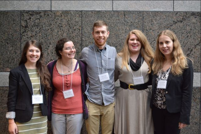 NCPC awarded scholarships to five NC State Public History graduate students to attend the 2015 annual conference. From left to right: Abigail Jones (MA '16), Claire Kempa (MA '17), Ethan Ley (MA '17), Katherine Bowers (MA '17), Silvia Bailey (PhD '18).