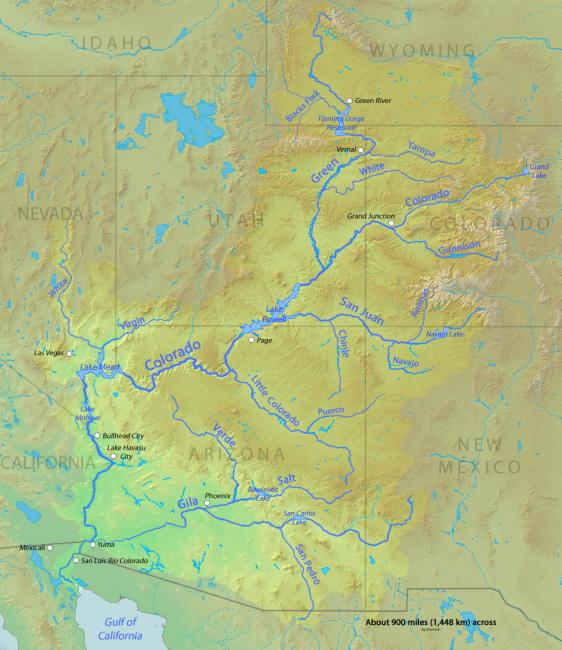 "The Colorado River. Map by Shannon using public domain DEMIS and USGS Seamless server, ""Colorado River Map,"" 25 February 2010."