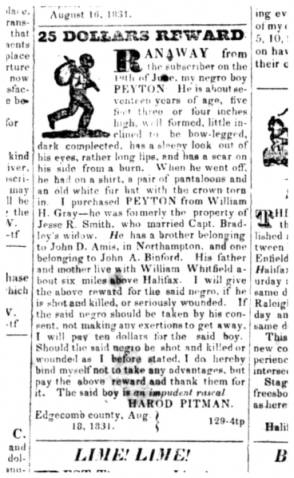 This newspaper advertisement for a runaway slave, published on Sept. 1, 1831, in the Roanoke Advocate, is one of many archived ads that give insight into the unique role Halifax County played in the Underground Railroad. Courtesy of the UNC-Greensboro Digital Library on American Slavery. Click for more information.