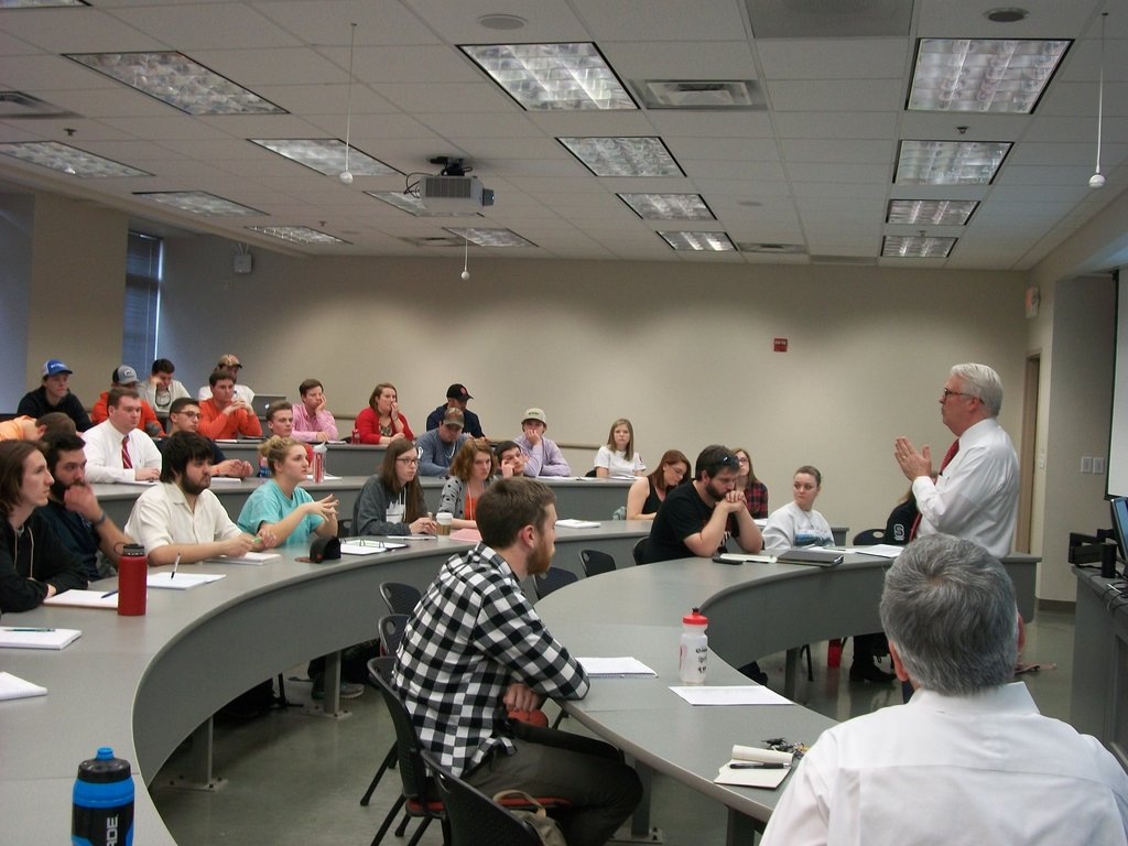 Chancellor Woodson answers students' questions about land grant universities and NC State