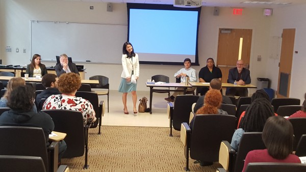 Graduate Programs Director Susanna Lee welcomes prospective students at the prospective student panel