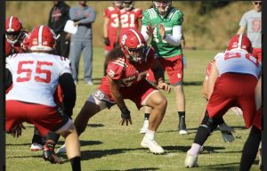 Sione on the field